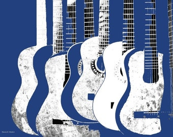 Guitar POP Art, Cobalt Blue Gray & White, Stringed Music Instrument, Wall Hanging, Entertainment Home Decor, Abstract 11 x 14, Giclee Print