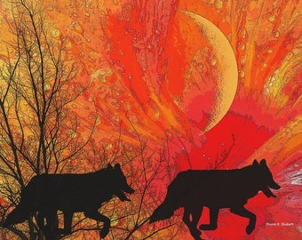Southwestern Art, Wolf Silhouette, Native American Totem Animal, Digital Print, Woodland Animal, Wolves Home Decor, Wall Hanging, 8 x 10