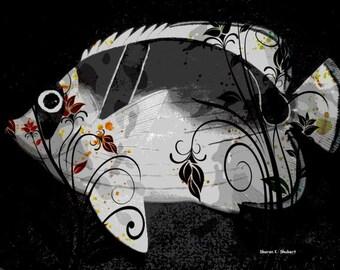 Stylized Fancy Fish Art, Digital Photomontage, Aquatic Lake, Black And Gray, Nautical Cabin Home Decor, Wall Hanging, Giclee Print, 8 x 10