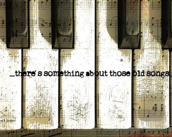 Old Piano Art, Keyboard Music, Typography Wall Hanging, Digital Musical, Music Instrument, Musician Songs, Nostalgic Text, Giclee Print
