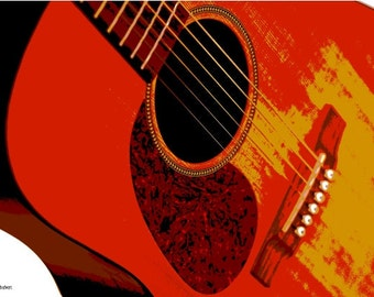 Southwest Guitar Art, Red and Yellow, Giclee Print, Music Room Decor, Musician Gift, Musical Decorative Art, Stringed Instrument, 8 x 10