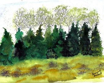 OOAK Evergreen Cedar Trees Art, Original Watercolor Painting, Monochromatic Green, Landscape Woodland Forest, Home Decor Wall Hanging,9 x 12