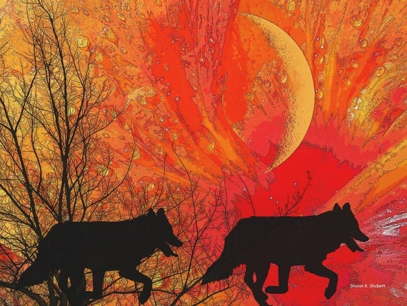 Southwestern Art, Wolf Silhouette, Native American Totem Animal, Digital Print, Woodland Animal, Wolves Home Decor, Wall Hanging, 8 x 10