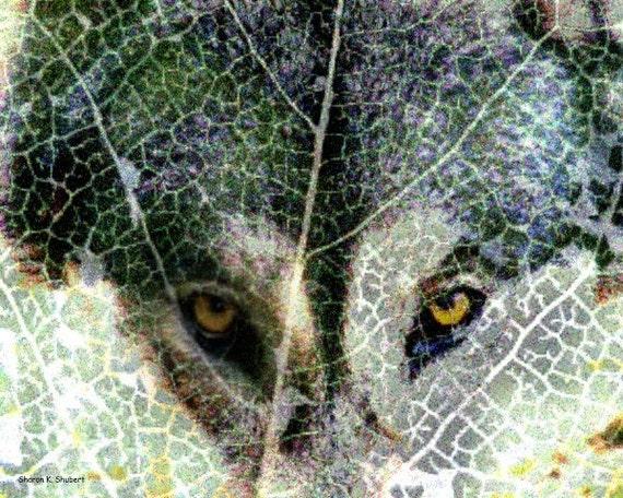 Wolf Art, Southwestern Photomontage, Native American Totem Animal, Gray Green, Digital Print, Wall Hanging, Home Decor, Giclee Print