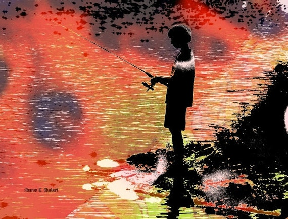 Fisherman Art, Boy Silhouette, Photomontage, Sunset Fishing, Peach Pink Black, Home Decor, Cabin Office, Wall Hanging, Giclee Print, 8 x 10