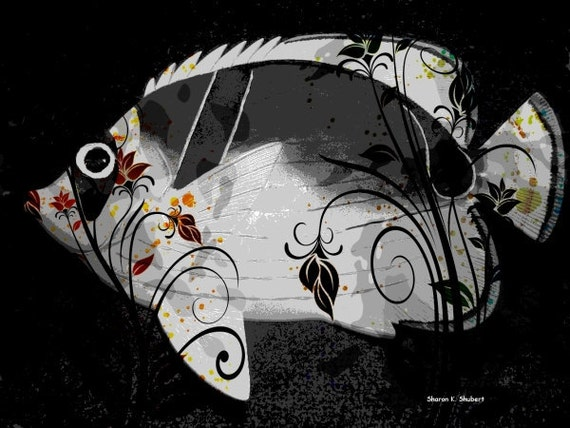 Stylized Fancy Fish Art, Digital Photomontage, Aquatic Lake, Black And Gray, Nautical Home Decor, Wall Hanging, Giclee Print, 8 x 10