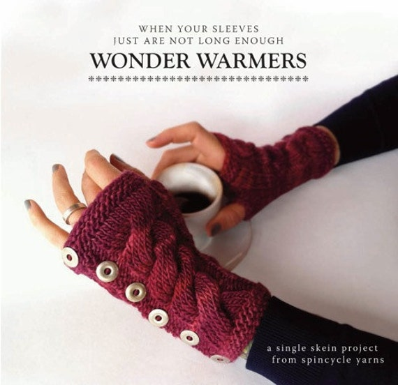 Arm Warmers Knitting Pattern Simple : Knitting PDF arm warmers pattern Wonderwarmers by SpincycleYarns