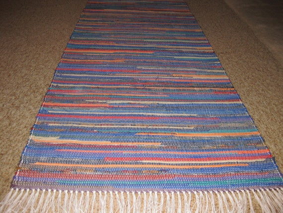 Handwoven Blue and Bright Multi Rag Rug 25 x 68 (M)