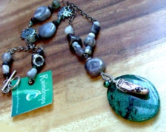 Chrysocolla Silver Necklace. CLEARANCE. Fine Silver Necklace. SERENDIPITY. Precious Metal Clay. Green Chrysocolla - Agate Gemstone Necklace.