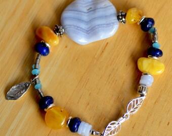 Blue Lace Agate Bracelet. SALE. Sterling Silver Bracelet. SUN and OCEAN Gemstone Bracelet. Lapis Lazuli - Agate - Yellow Amber Bracelet.