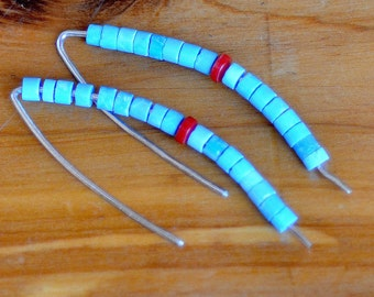 Turquoise Silver Sticks Earrings. Hand Forged Sterling Silver Hoops. Gemstone Turquoise - Coral Earrings. December Birthstone.