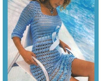 Crochet Pattern -Lady's Dress. Blue