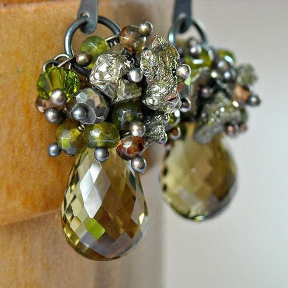 Leif Earrings - olive quartz, pyrite, vesuvanite, oxidized sterling silver