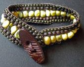 Yellow Turquoise five row  bracelet