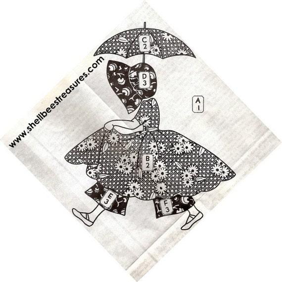 Sunbonnet Sue Umbrella Girl Applique Quilt Pattern Vintage