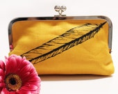 Mustard Yellow Linen Bird Feather Clutch Purse