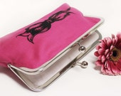 Hot Pink Linen Bow Clutch Purse