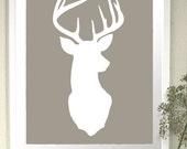 Deer Head Silhouette Print - Deer Oh Deer -  8x10 inch Stag Antlers Fine Art