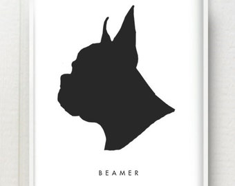 11x14 Custom Pet Silhouette Black and White or Color Print - Modern Personalized Dog or Cat Art - Great gift for pet parents