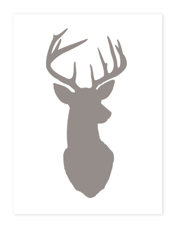 Items Similar To Deer Head Print Silhouette Warm Gray On