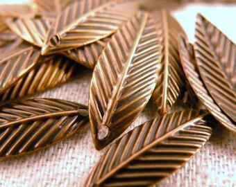 Leaf Charm Drops Antiqued Brass 24 pc Set