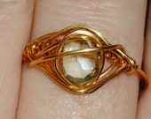 Pear Shaped Green Amethyst ring size 8