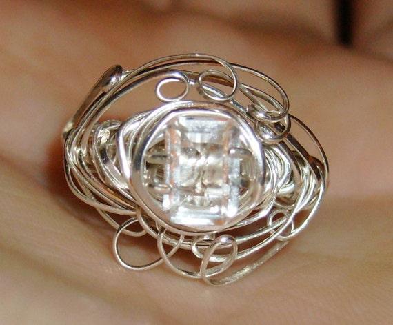 Diamond Quartz Emerald Cut ring size 6