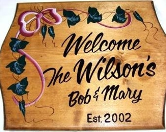 Beautiful Personalized Custom  wood Sign with Family Name, Custom Made to Order, Handlettered, Top Quality