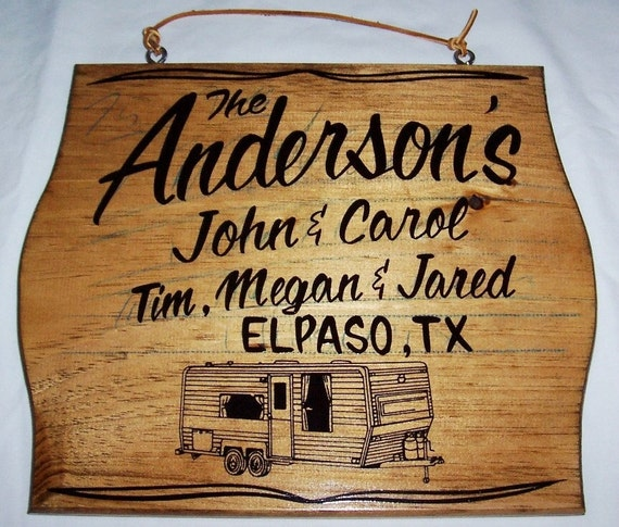 PERSONALIZED RV SIGNS for a TRAVEL TRAILER by customsignsbyjb