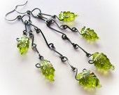 Earrings Under 20 Green Leaves on Steel