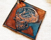 Etched Copper Necklace Skull with Patina Halloween