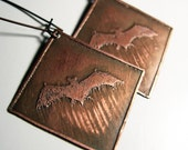 Etched Copper Earrings Bats with Patina Halloween