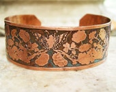 Etched Copper Cuff Leaves and Butterflies