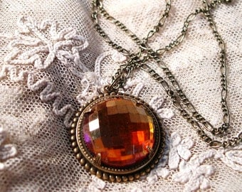 Glass Pendant Necklace, Amber Glass
