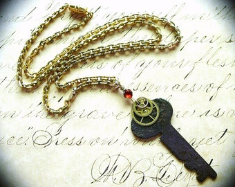 Steampunk Key Necklace Steampunk Watch Gears