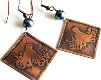 Octopus Earrings, Etched Copper Earrings