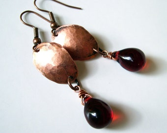 Hammered Copper Earrings Red Bead Dangles