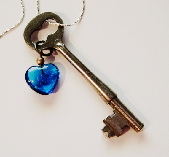 Steampunk Skeleton Key Necklace with Blue Heart