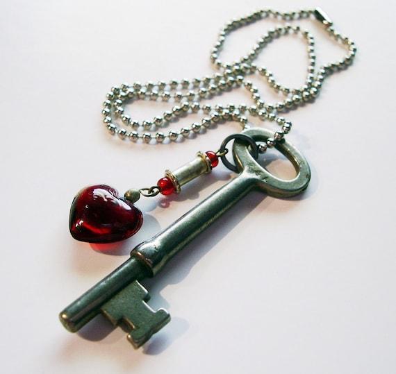 Steampunk Skeleton Key Necklace Red Glass Heart Dangle
