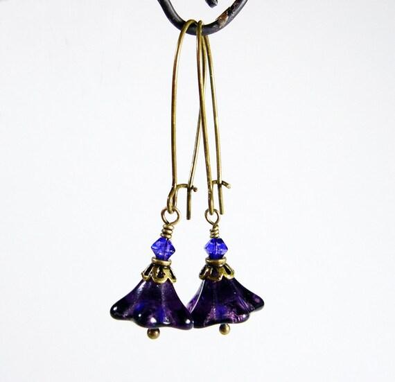 Earrings Under 20 Purple Glass Flowers