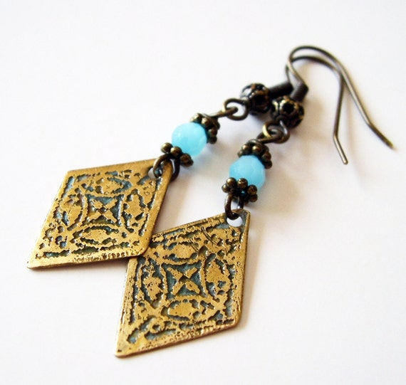 Etched Brass Earrings with Frosty Blue Beads