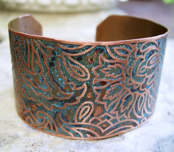 Etched Copper Cuff Floral Paisley