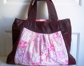 Slim tote with Pretty Pink Patchwork and Textured Suede Cloth