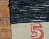 5 yards, BLACK waxed Irish Linen Thread