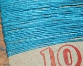 10 yards TEAL waxed Irish linen thread