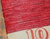 10 yards RED waxed Irish linen thread