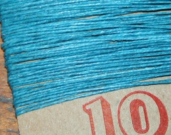 10 yards TEAL waxed Irish linen thread