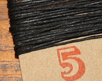 5 YARDS, heavy duty BLACK waxed linen thread