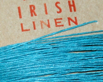 25 yards of TEAL waxed Irish linen thread