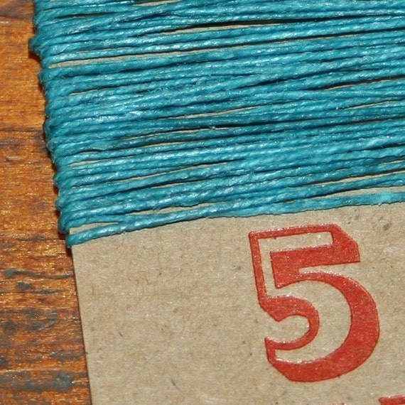 5 yards TEAL waxed Irish linen thread